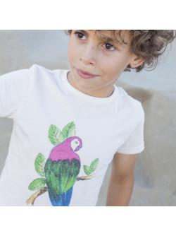 T-shirt garçon blanc Perroquet