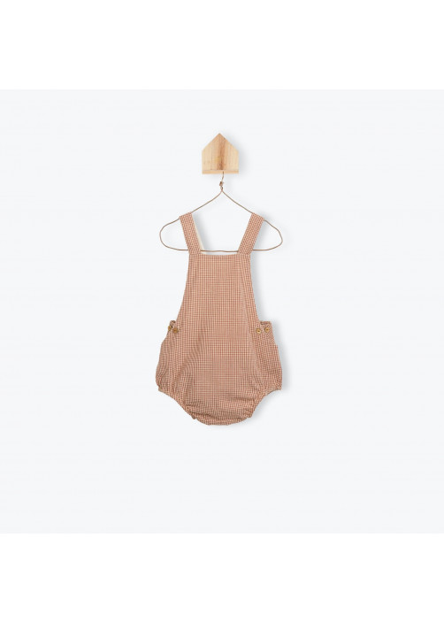Terracota gingham baby's dungarees