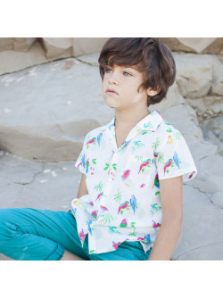 Parrots printed boy's shirt