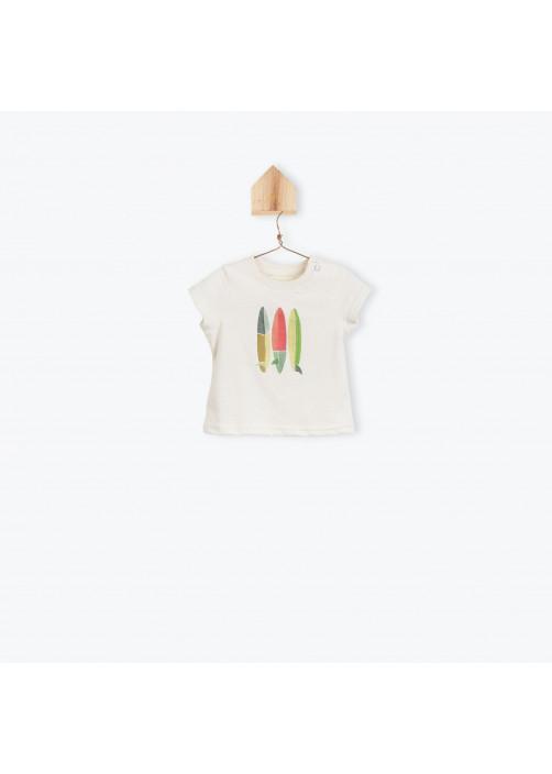 T-shirt bébé garçon écru Surf boards