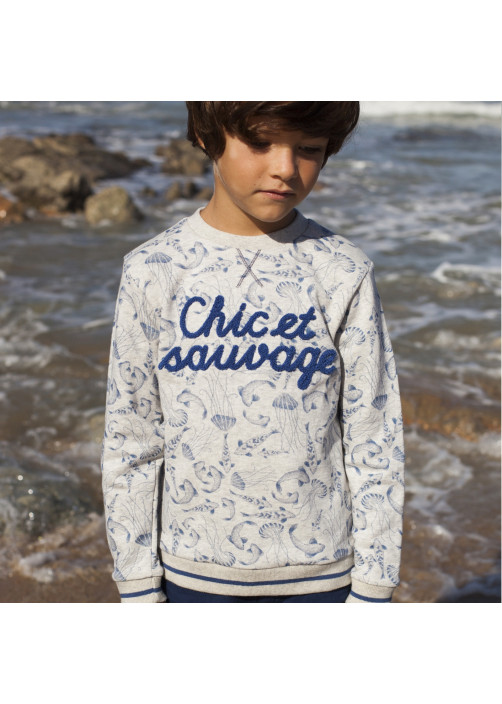 Fish printed fleece sweatshirt