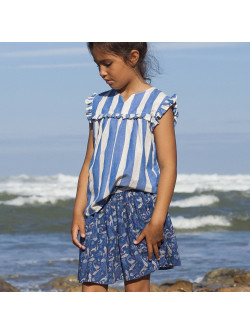Blue big stripes girl's blouse