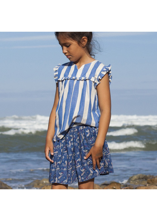Medusa printed cotton girl's skirt