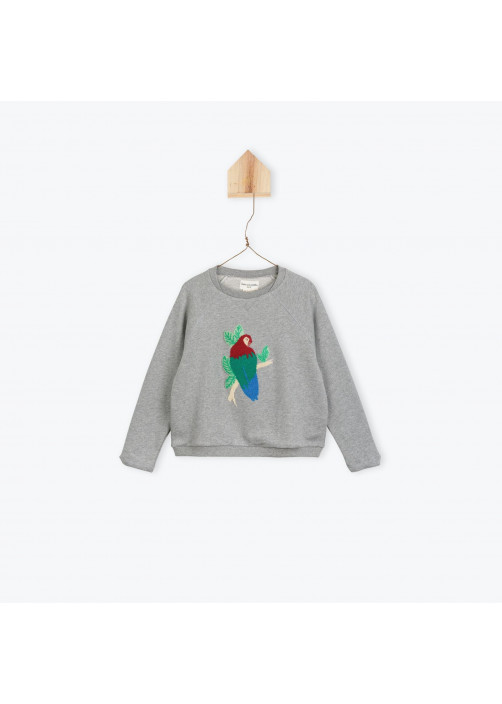 Heather grey Parrots girl's sweatshirt