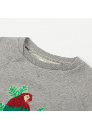 Sweat fille brodé perroquet