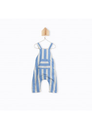 Blue big stripes baby's dungarees