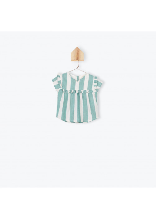 Green big stripes baby's blouse