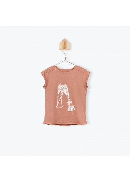 T-shirt fille terracota Girafe