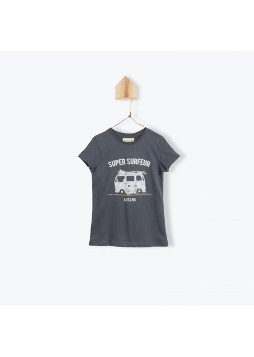 Anthracite surfing boy's T-shirt