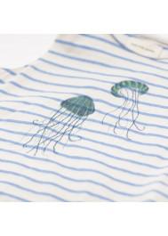 Blue jersey striped girl's T-shirt