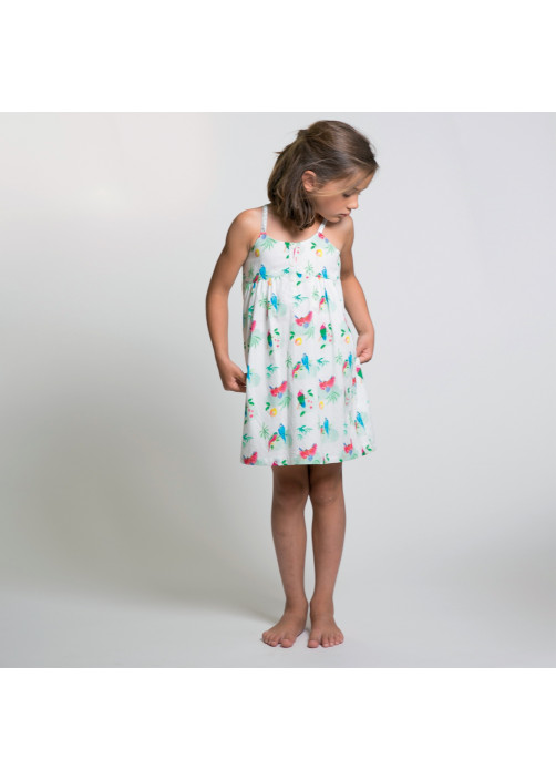 Parrots printed girl's dress