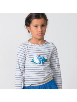 T-shirt fille jersey rayé océan et sequins