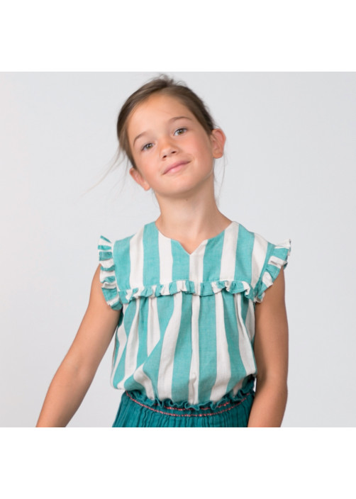 Green big stripes girl's blouse
