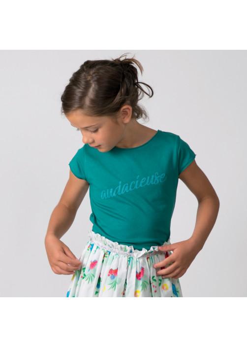 T-shirt fille vert paon audacieuse