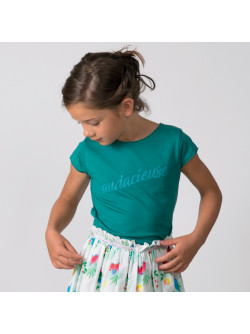 Green Audacious girl's T-shirt