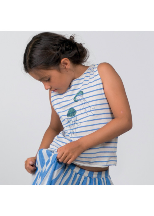 Blue jersey striped girl's T-shirt
