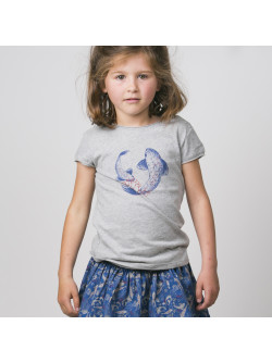 T-shirt fille gris chiné Carpes