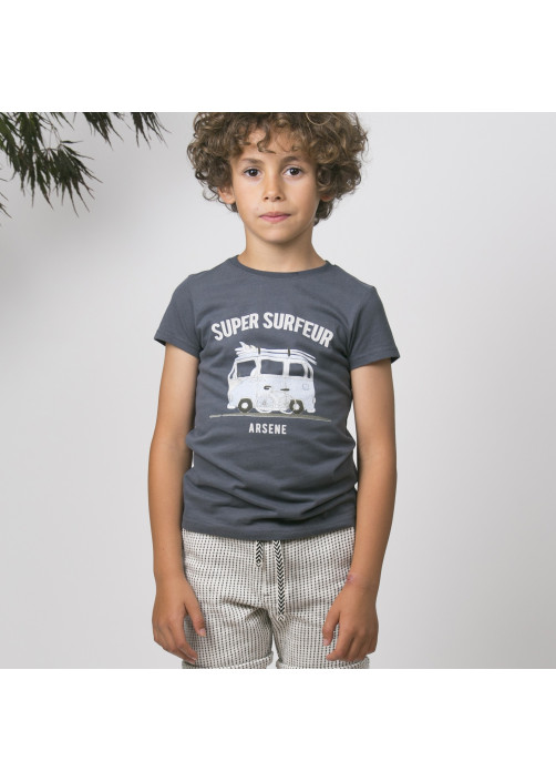 Anthracite surfing boy's T-shirt