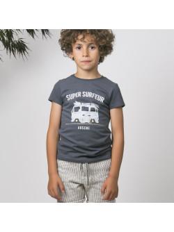 T-shirt garçon anthracite surfeur