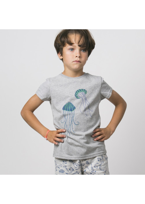 Heather grey printed boy's T-shirt