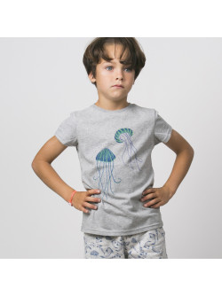 T-shirt garçon gris chiné Méduses