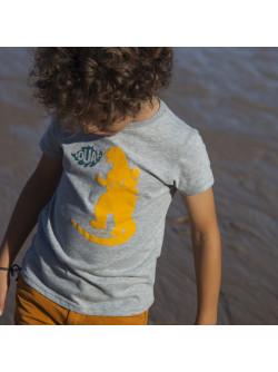 T-shirt garçon gris chiné Godzilla