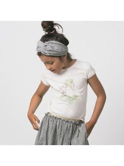 T-shirt fille écru Singe