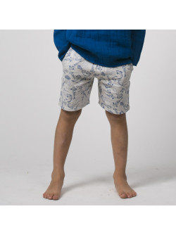 Fish printed fleece boy's bermuda