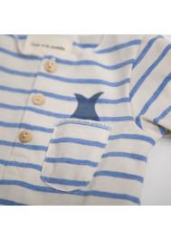 T-shirt bébé rayé col tunisien océan