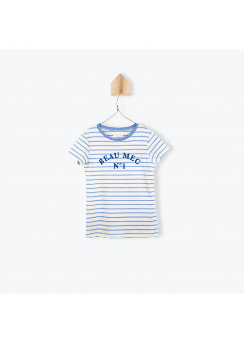 Blue striped embroidered boy's T-shirt