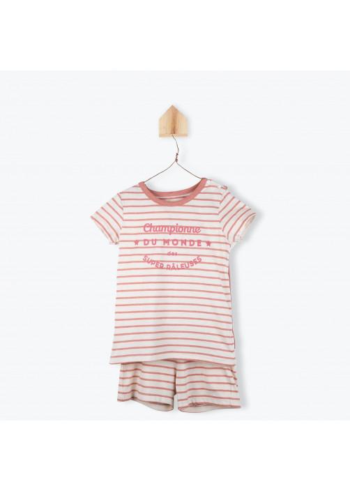 Pyjama enfant rayé brique avec cape
