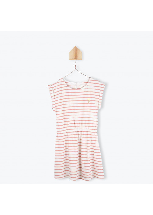 Terracota striped jersey girl's dress