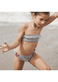 Grey striped two-pieces swimsuit