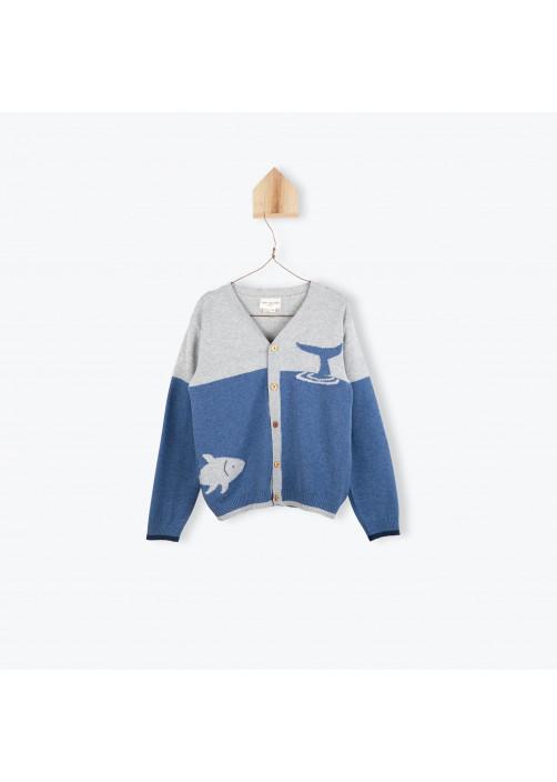Boy's bicolor cardigan