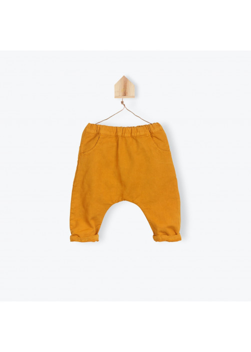 Green cotton linen baby's pants