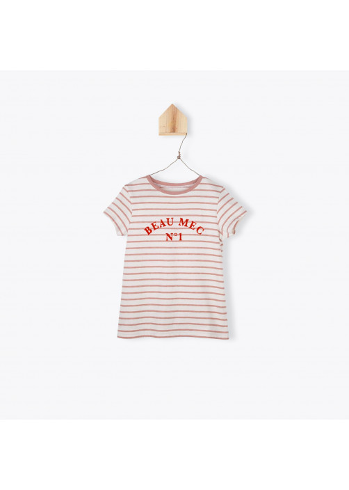 Terracota striped embroidered boy's T-shirt