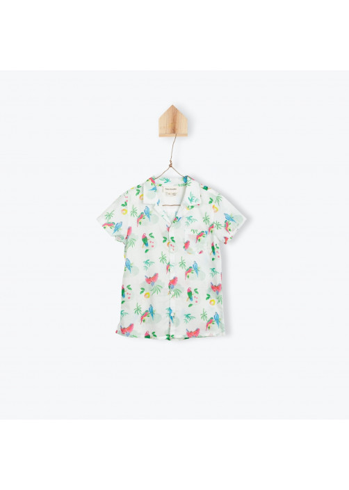 Parrots printed baby boy's shirt